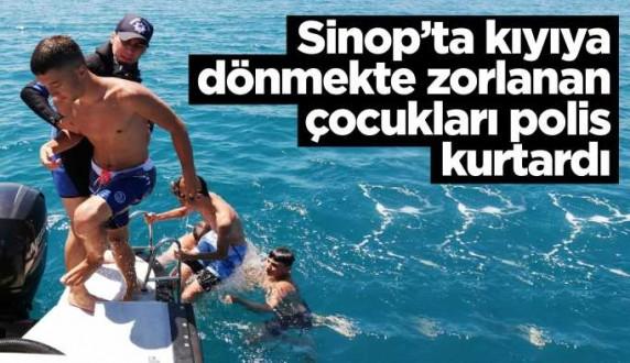 Kıyıya dönemeyen çocukları polis kurtardı
