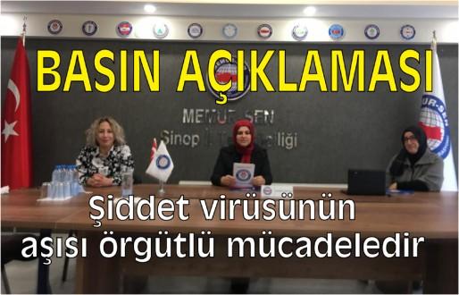 Memur-Sen Sinop İl Temsilciliği kadına şiddet açıklaması:
