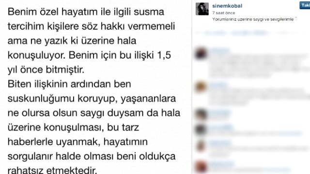 Sinem Kobal, Arda Turan'ın kendisi hakkında yaptığı açıklamalara cevap verdi.